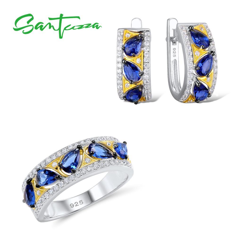 Santuzza Silver Jewelry Set Bridal Wedding Jewelry Set Blue CZ Stones Ring Earrings Set 925 Sterling