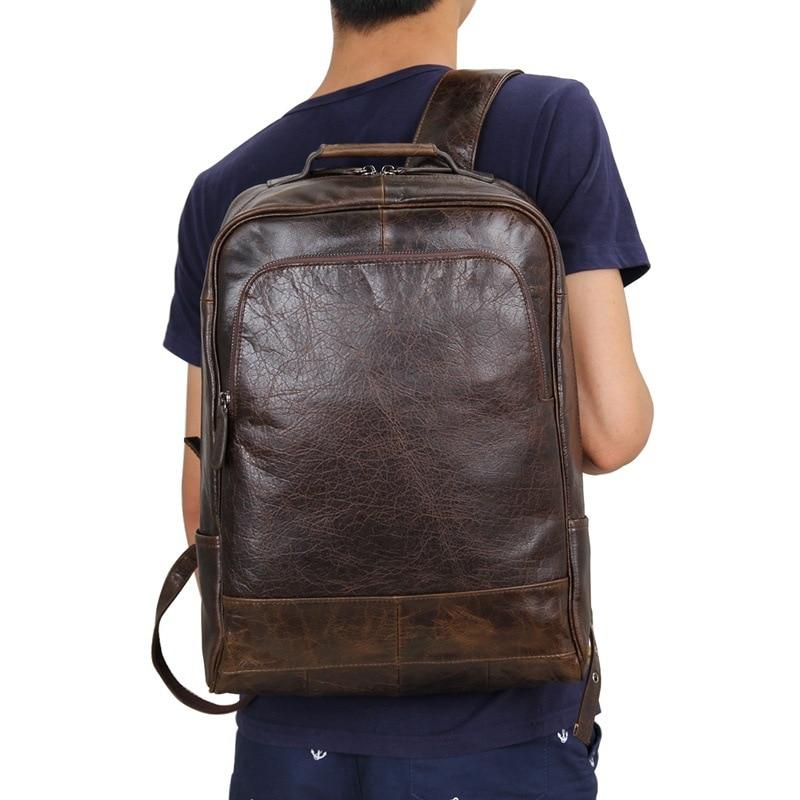 Nesitu High Quality Vintage Coffee Genuine Leather Women Men Backpacks Real Skin Male Travel Bags M7347 in Backpacks from Luggage Bags