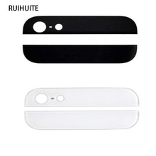 RUIHUITE New Top & Bottom Back Rear Glass Panel Replacement For iPhone 5 5g