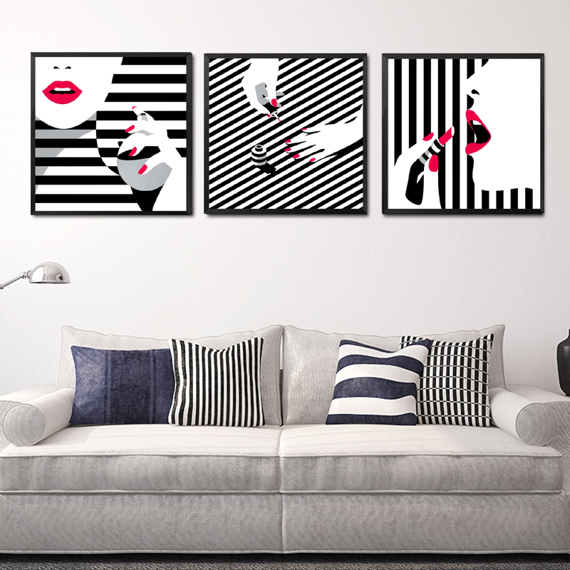 Black White Stripe Girls Wall Decor Painting Red Lips ...