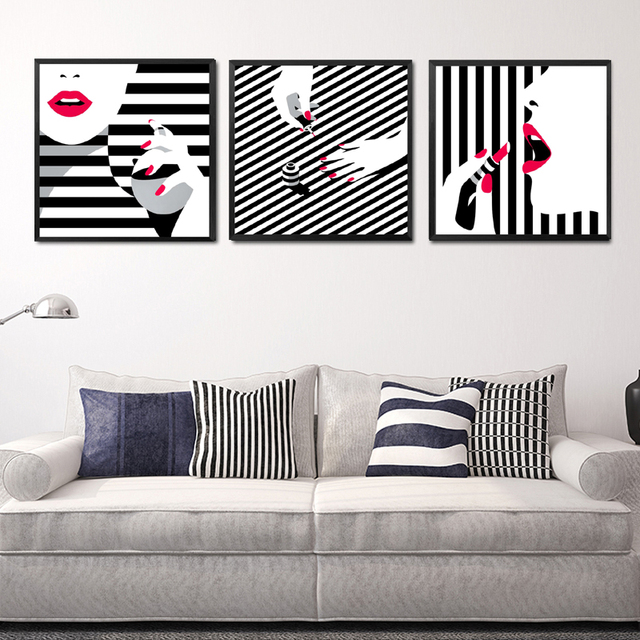 Black white stripe girls wall decor painting red lips beauty makeup canvas art print poster