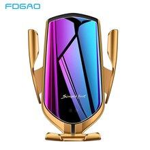 FDGAO Qi Беспроводное Автомобильное зарядное устройство 10 Вт Быстрая зарядка держатель телефона автоматическое зажимное крепление для iPhone 11 Pro XS XR X 8 samsung S10 S9