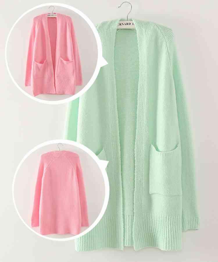 637 rabbit new ice cream soft Mint green ice creamcolor Joker Cardigan Pocket sweater coat