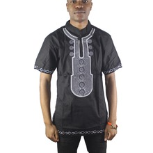 Black Embroidery Africa Dashiki Tops Side Slit Ethnic Shirts for Male Summer Wearing
