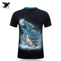 Free Shipping 2017 Summer Mens 3D Tshirt O Neck Short Sleeve Animal T Shirt Dragon Wolf