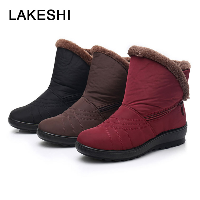 Non-Slip Snow Boots 2018 Winter Shoes Warm Waterproof Women Boots Mother Shoes Zipper Casual Cotton Boots Solid Shoes Woman title=