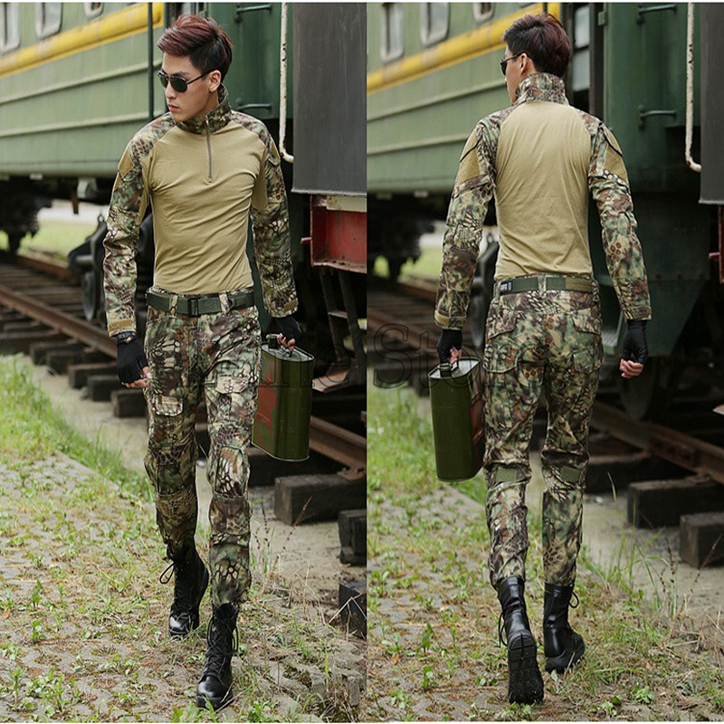Hunting Clothing Airsoft Camouflage Suit Military Unfirom Paintball Equipment Military Combat Shirt Pants with Knee Elbow Pads