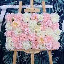 10pcs/lot Wedding Decorative Artificial Rose Silk Hydrangea Peony Flowers Stage Decoration Flower Wall Backdrop 40X60cm