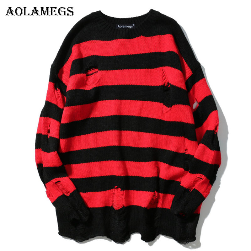 Aolamegs Male Sweatshirt Striped Holes Sweatshirts Pullover Fashion Full Sleeve High Street Streetwear Casual Autumn 2017 Brand