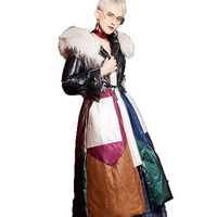 Из натуральной кожи куртка енотовидная собака меха с капюшоном дубленка женская куртка корейское зимнее Для женщин топы гусиный пух пальто...