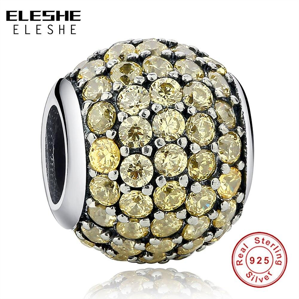 ELES mesmos 100% 925 Sterling Silver Yellow LIMPAR Cz pulseira De Cristal redonda Do Encanto Beads Fit Original Autêntico Fazer jóias