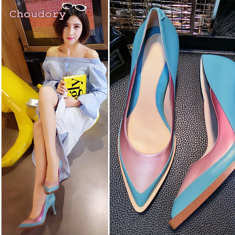 2017 spring summer new European contrast color pumps pointed toe high heels leather sexy high-heeled shallow shoes woman pumps fashion new spring summer med high heels good quality pointed toe women lady flock leather solid simple sexy casual pumps shoes
