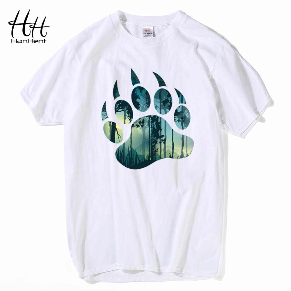 HanHent Bear and Forest T shirts Summer Cotton Short Round Neck Tee shirt Russian Streetwear Tshirt Soft T-shirts Men TH5415