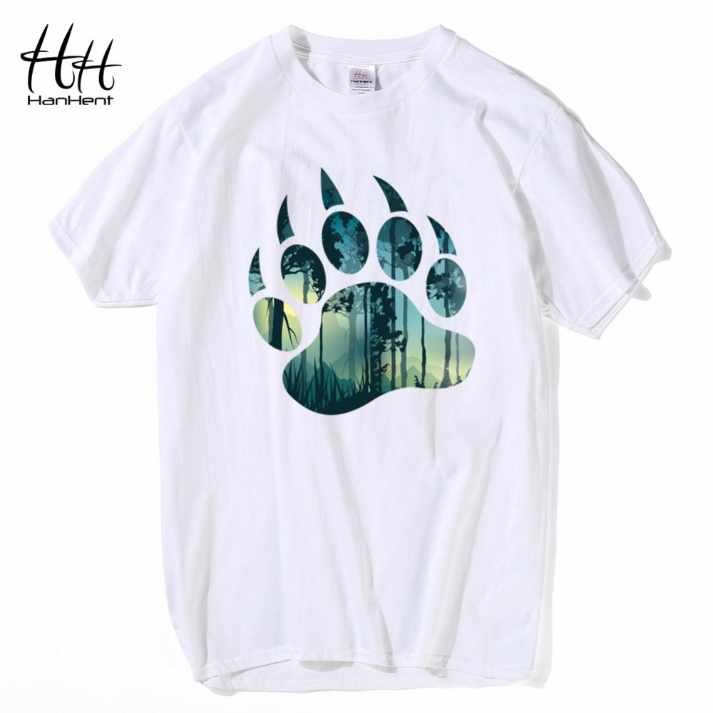 HanHent Bear and Forest   T     shirts   Summer Cotton Short Round Neck Tee   shirt   Russian Streetwear Tshirt Soft   T  -  shirts   Men TH5415