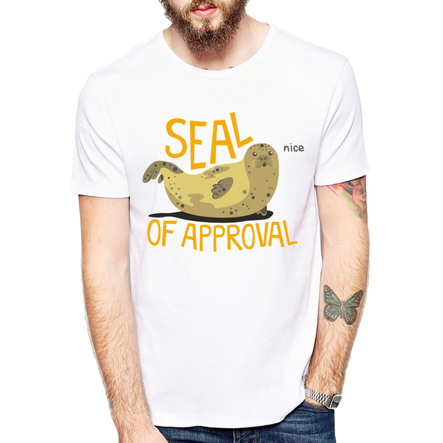 US $8 24 45% OFF|Funny Animal T shirt Brand Clothing Hip Hop Seal of  approval Printed Men T Shirt Short Sleeve Cute High Quality T Shirt Men-in