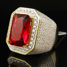 HIP Hop Micro Pave Red Rhinestone Iced Out Bling Ring IP Gold Filled Rings for Men Jewelry copper + zircon