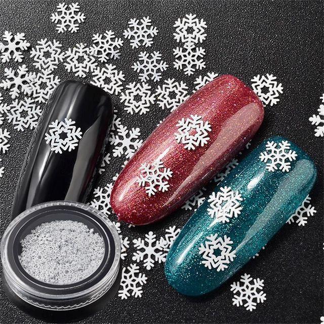 1 Box White Snowflake Nail Art Sequins Christmas Nail Flakes Diy 3d