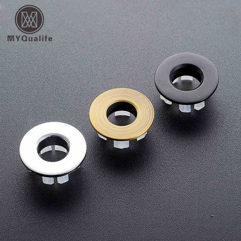 Free Shipping New Design Basin Sink Overflow Cover Brass Round Ring Bathroom Basin Insert Tidy Decorate Plate