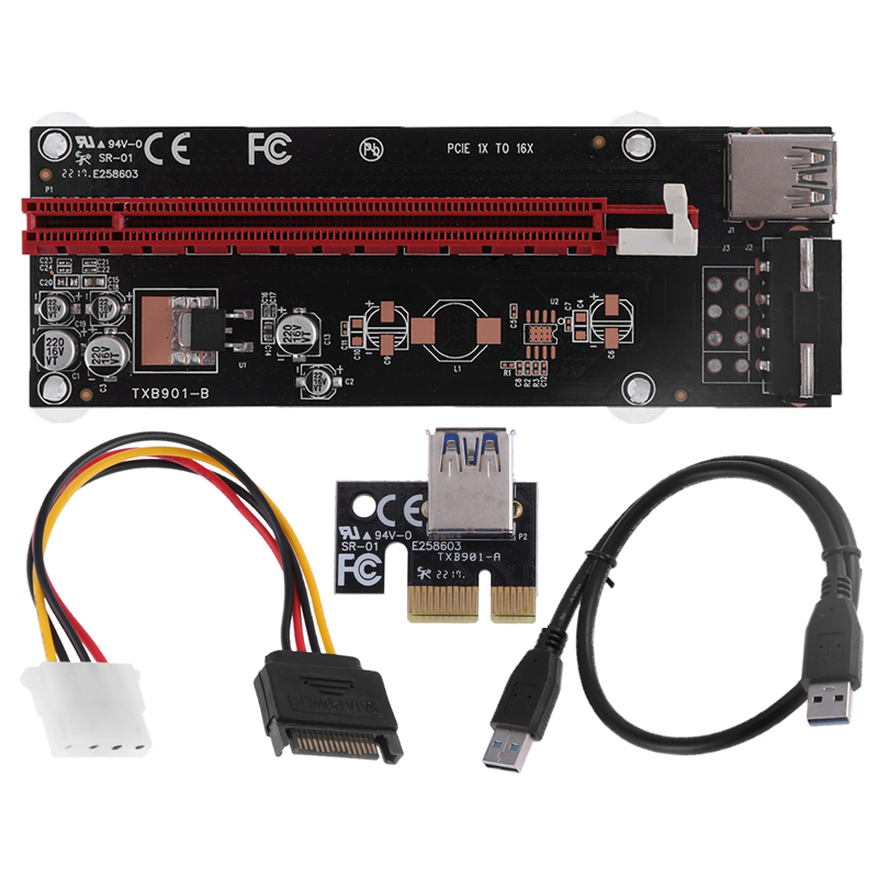 PCI Express 1x to 16x Riser Card Graphics Card Extender Raiser with USB 3.0 Data Cord SATA to 4Pin Power Cable for BTC Miner 50cm pci e pci e express 1x to 16x graphics card riser card usb 3 0 extender cable with power supply for bitcoin litecoin miner