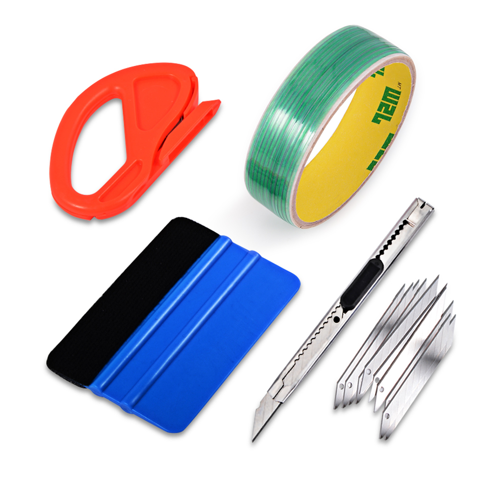 FOSHIO Vinyl Car Wrap Tool Set 5M Design Line Knifeless Tape 3M Squeegee Film Sticker Cutting Knife Window Tint Car Accessories the window office paper sticker pervious to light do not transparent bathroom window shading white frosted glass tint