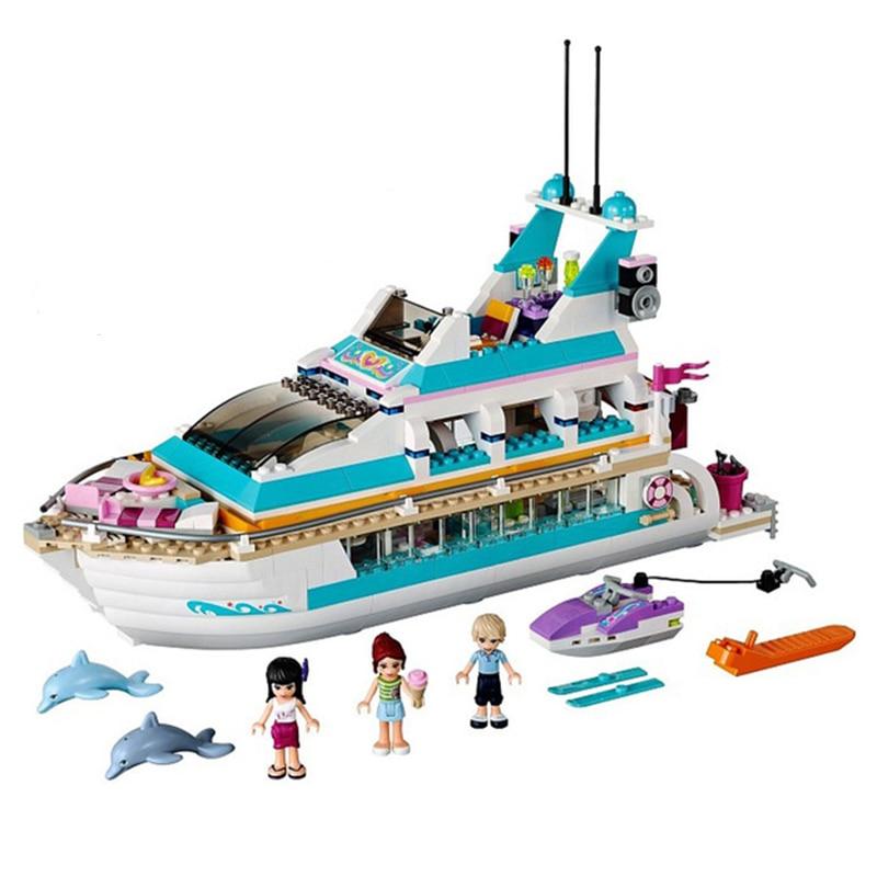618Pcs Compatible Friends 41015 Figure Model Building Blocks Dolphin Cruiser Vessel Ship Brick Set Toys For