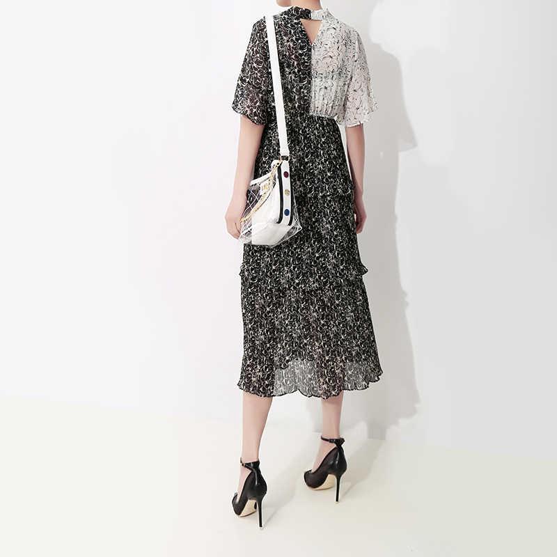2019 женское летнее Черное Шифоновое Платье в Корейском стиле, с завязками, с короткими рукавами, с каскадными оборками, милое платье миди для вечеринок, Vestidos 4971