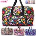 Famosa Marca de Nylon Impermeable Plegable bolsa de equipaje de Viaje Portátil de Gran Capacidad de Dibujos Animados Floral embalaje organizador Bolsa de las mujeres