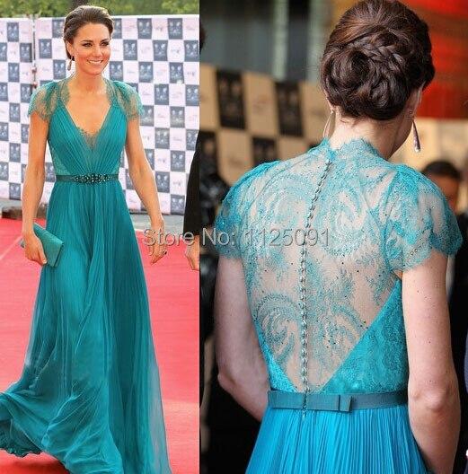 Best Selling Custom Made kate middleton Chiffon V neck Lace Sash beading floor length celebrity dress blue evening dresses|dress blue|dress celebrity dresses|dresses dress -