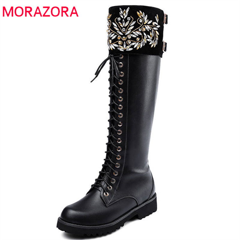 MORAZORA 2018 new arrival genuine leather knee high boots women round toe zip lace up autumn boots comfortable fashion shoes цена 2017