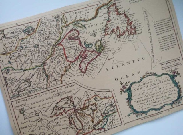 Part of North America and Canada Map Classic Vintage Retro Kraft ...