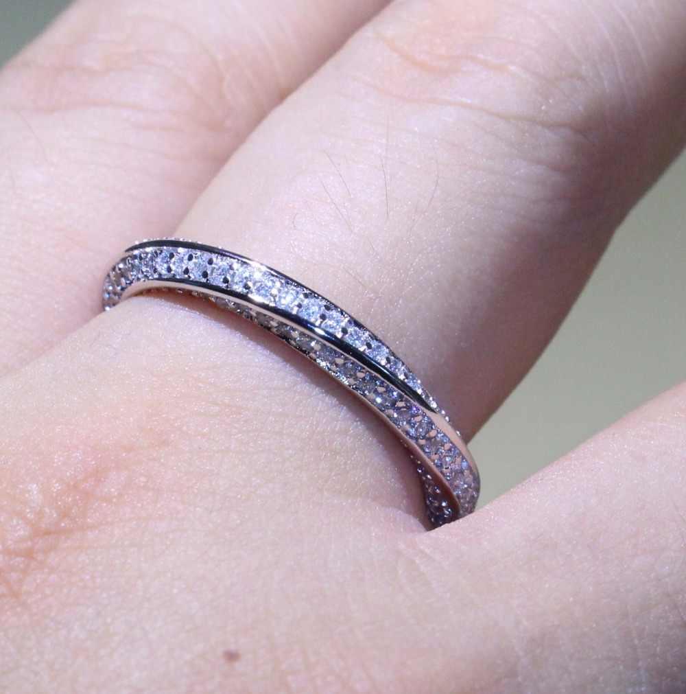 Superbe anneau cercle Simple bijoux de luxe 925 en argent Sterling pavé Micro AAA zircone CZ fête Mobius anneaux de mariage pour les femmes
