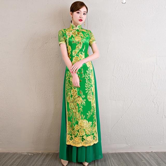 d1e887d0665 Vietnam Ao Dai Dress Cheongsam Green Qipao Long Traditional Chinese Dresses  Summer Women Sexy Flowers Robe Orientale