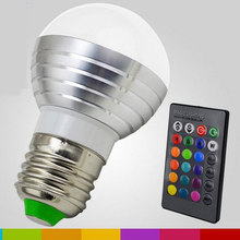 RGB lampe à LED AC85-265V 3 W E27 E14 GU10 LED 16 couleur ampoule variable lampe multicolore avec télécommande LED éclairage(China)