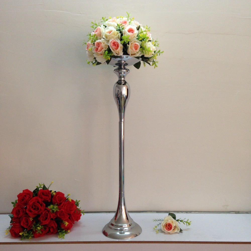 Silver 75cm Height Wedding Table Centerpiece Flower Vase Candle