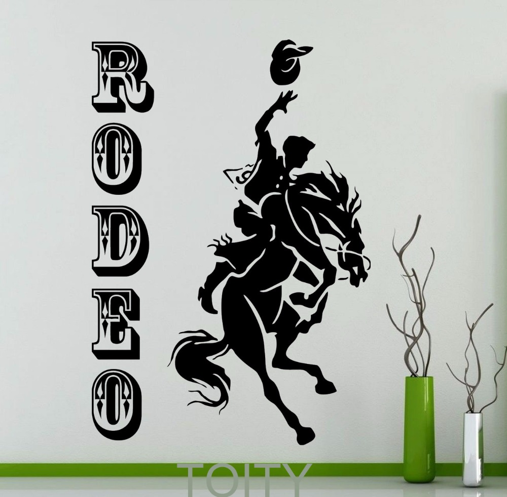 compare prices on western horse and cowboy decor online shopping rodeo poster retro wall sticker cowboy horse vinyl decal home interior decoration wild western art mural