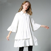 White Loose Long Blouse For women legant Women Shirt Loose Fashion Tops Flare Sleeve Oversized Blouse 4XL High quality Blouse