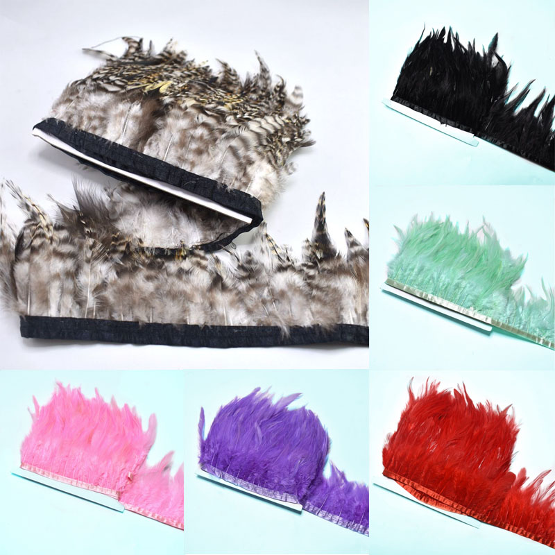 1Yards rooster feather trimming Fringe for clothing plumas 8 10cm Pheasant feather for crafts sewing DIY dress Party decoration in Feather from Home Garden