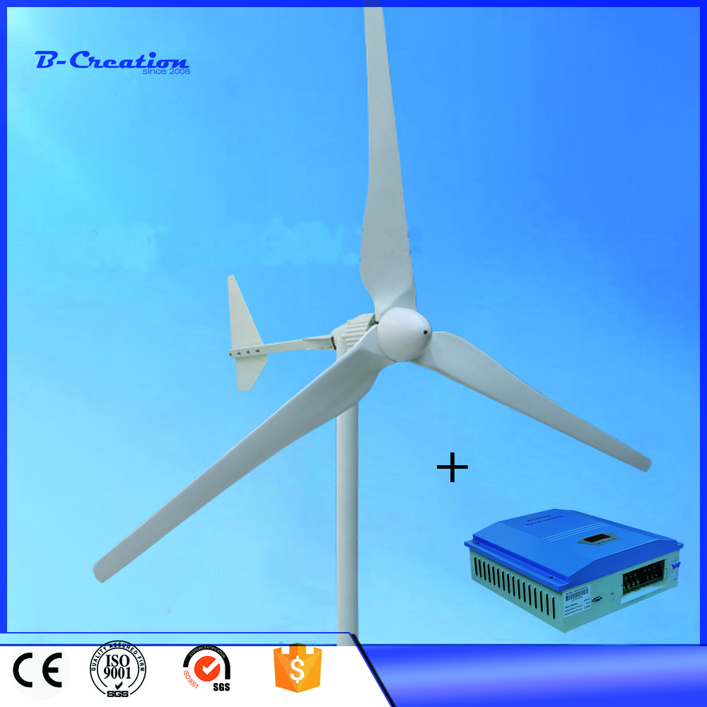 Hot Selling Wind Generator 2KW 48V with 3Blade, 2KW Wind Turbine with Tail Turned Brake Protection, 3M/S Start Wind Speed horizontal ac 2kw 48v 96v wind generator wind turbine