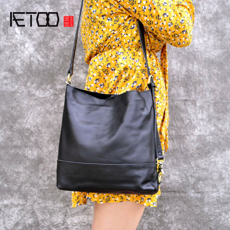 AETOO Leather bag female new bucket bag handbag soft leather shoulder Messenger bag simple wild handbag stylish and simple bucket bag wild shoulder messenger bag