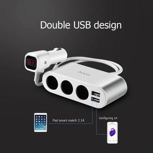 Image 5 - HOCO Z13 Dual USB 2.1A Car Phone Charger 3 Sockets Cigarette Lighter LED Digital Display Fast Charging Adapter Splitter