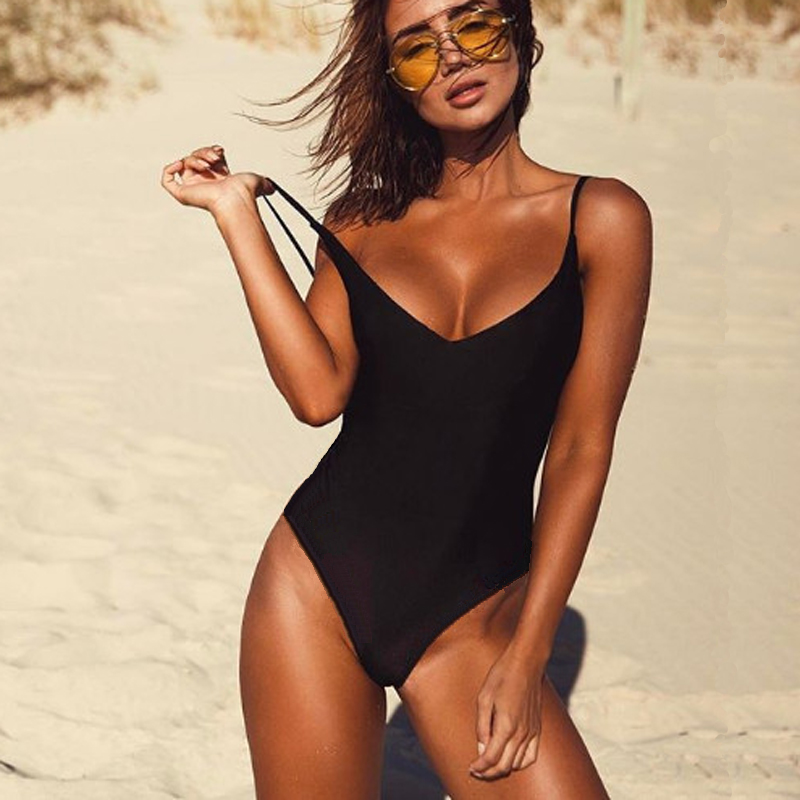 2018 Women Swimwear Sexy High Cut Female One Pieces Swimsuit Solid Black Thong Bikini Padded Backless Monokini Bathing Suit S-XL