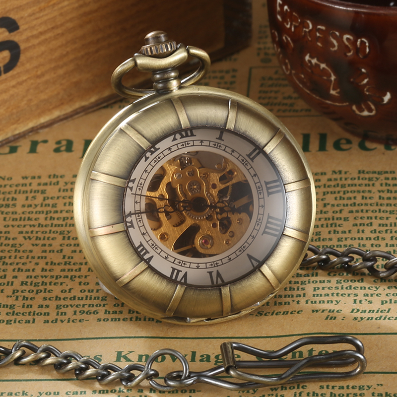 Steampunk Gear Hollow Mechanical Pocket Watch  Antique Roman Numerals Hand Wind Watches Skeleton Pendent Hours Clock Collection