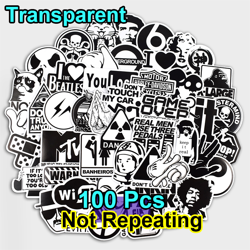 100 Pcs Transparent Black and White Stickers for Laptop Car Luggage Bike Motorcycle Vinyl Decals PVC Waterproof Graffiti Sticker стоимость