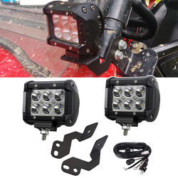 2pcs 4 inches 18W LED Spot Light Pods with Wiring Kit and A-pillar Roll Cage Mounting Brackets For Polaris RZR XP 1000 900 Model