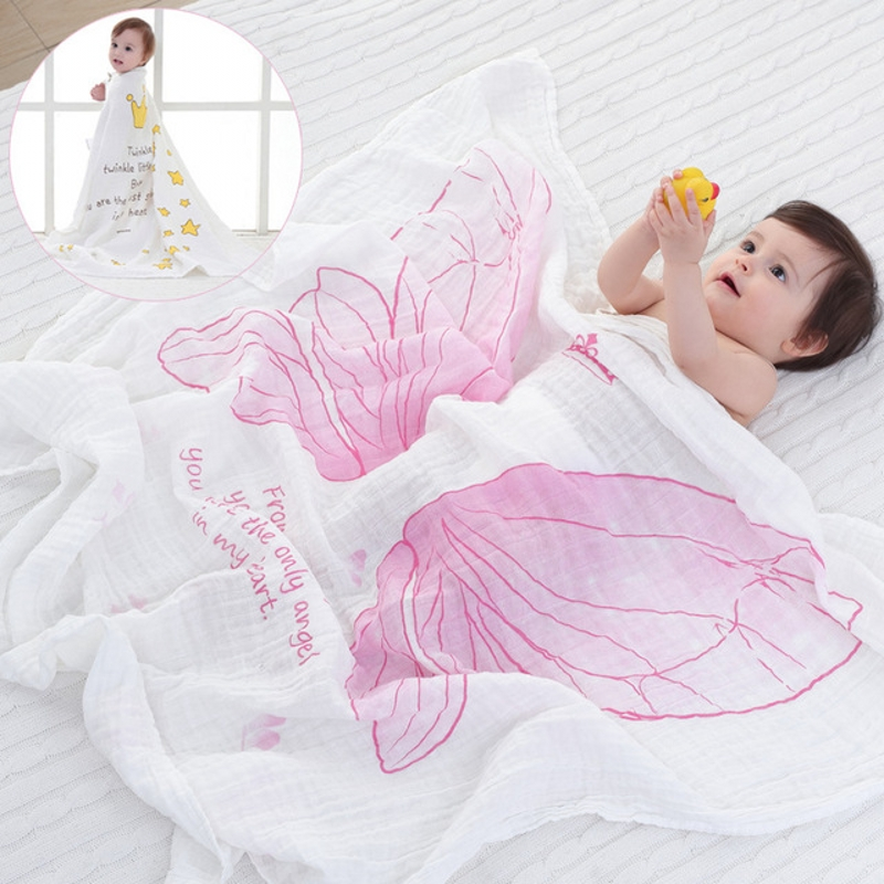 Spring & Summer Air Conditioning Blanket Girls Angel Wings Muslin Cotton Infant Holds Blankets Blanket Bath Towel 115x120cm