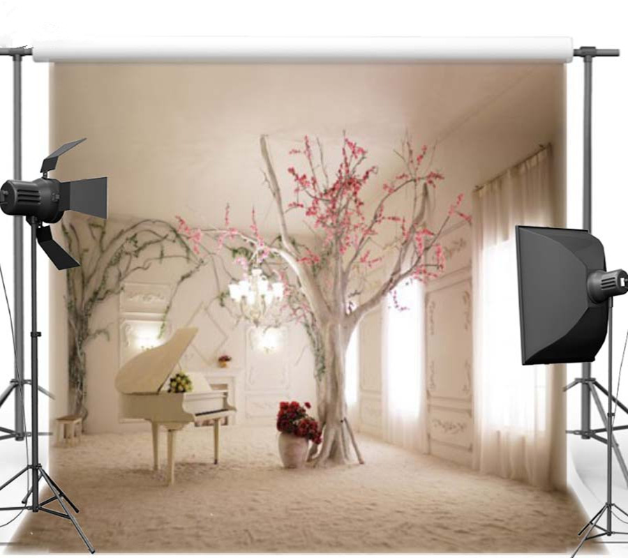 Indoor Beach Wedding Photography Backdrops Old Tree With Flowers Carving Wall Window Curtain