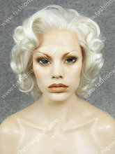 W24 Hot Sale #1001 White Blonde Heat Friendly Fiber Lace Front Short Curly Wig
