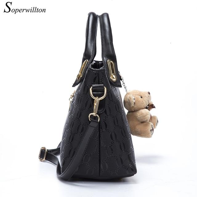 Soperwillton Famous Brand Women Bag Top-Handle Bags 2017 Fashion Women Messenger Bags Handbag Set PU Leather Composite Bag #150