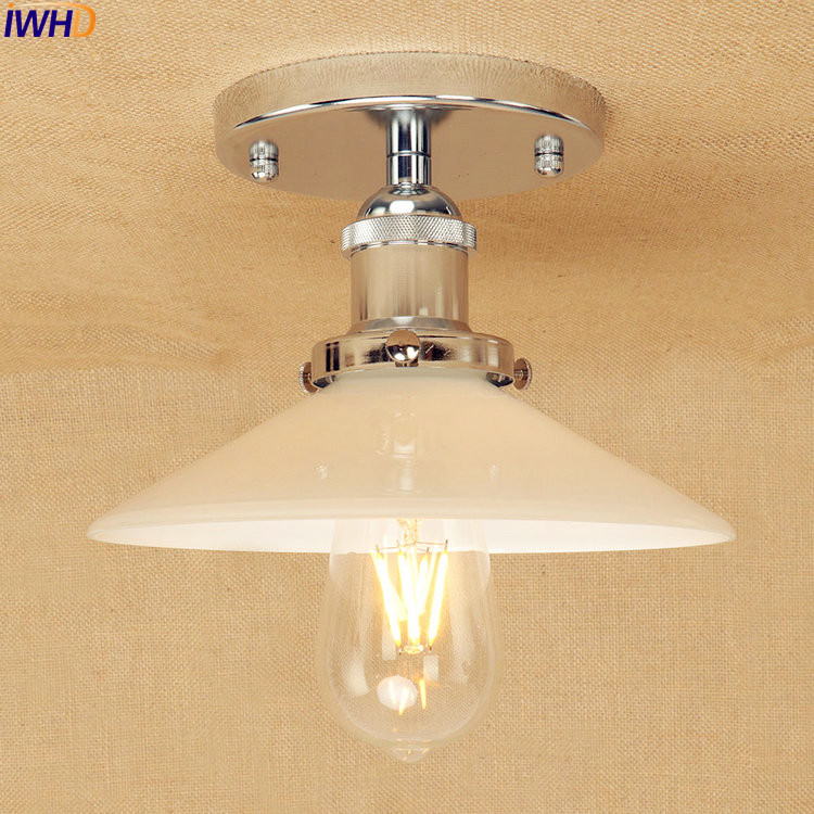 IWHD White Glass LED Ceiling Lights Fixtures Living Room Lighting Retro Loft Style Vintage Industrial Ceiling Light Luminaire все цены
