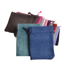 Миниатюрная сумка из джута 13 х18 см льняная пеньковая на шнурке